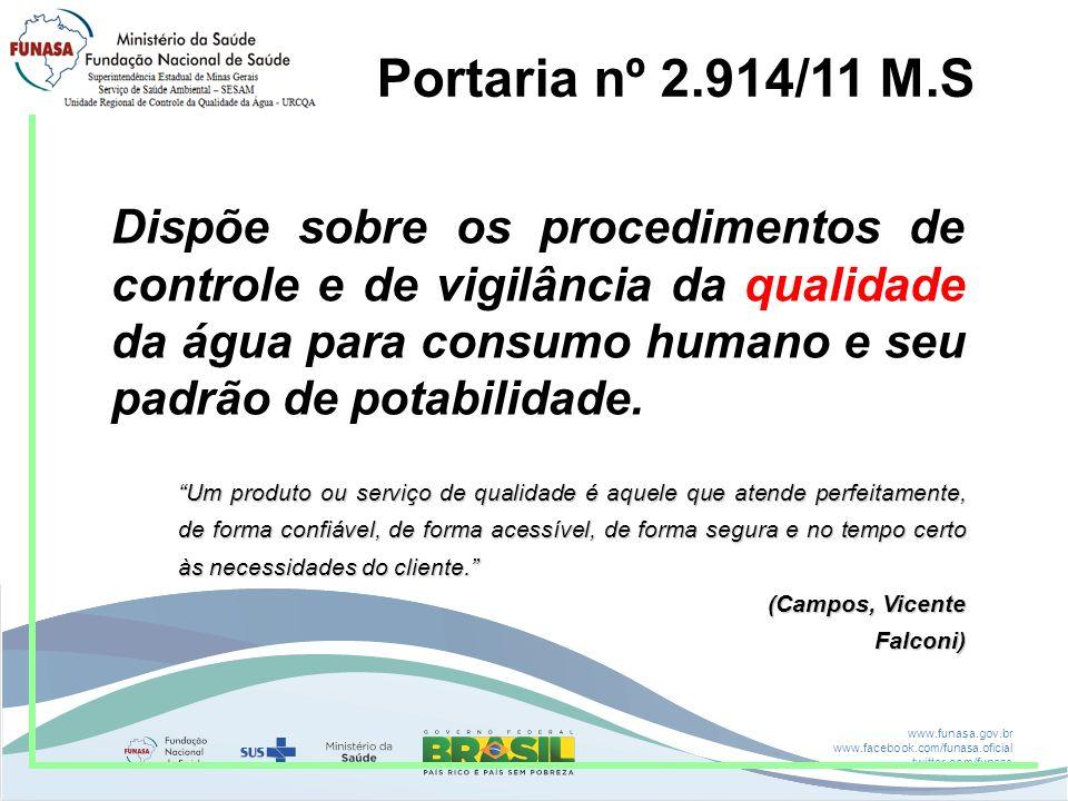 www.funasa.gov.br www.facebook.com/funasa.oficial twitter.com/funasa Portaria nº 2.914/11 M.S Dispõe sobre os procedimentos de controle e de vigilânci