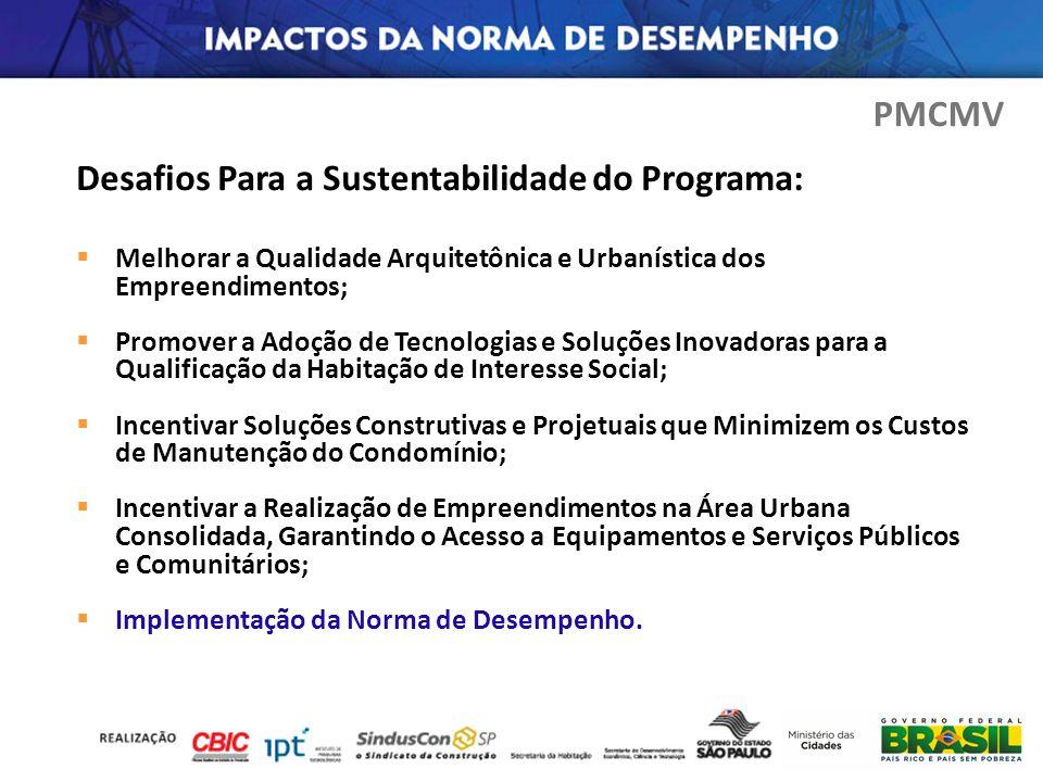 Desafios Para a Sustentabilidade do Programa: Melhorar a Qualidade Arquitetônica e Urbanística dos Empreendimentos; Promover a Adoção de Tecnologias e