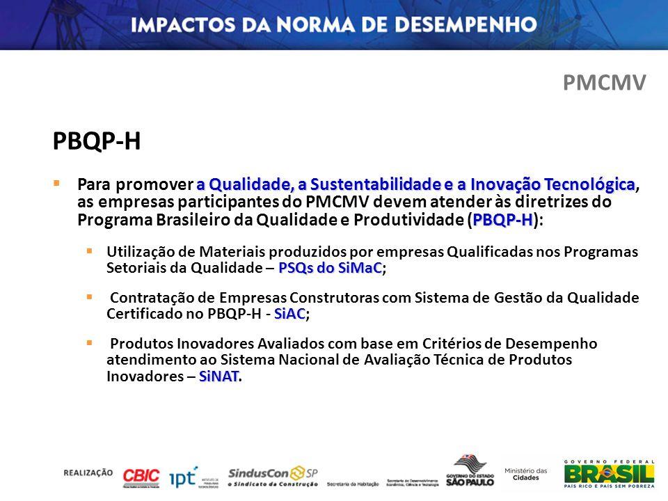 PBQP-H a Qualidade, a Sustentabilidade e a Inovação Tecnológica PBQP-H Para promover a Qualidade, a Sustentabilidade e a Inovação Tecnológica, as empr