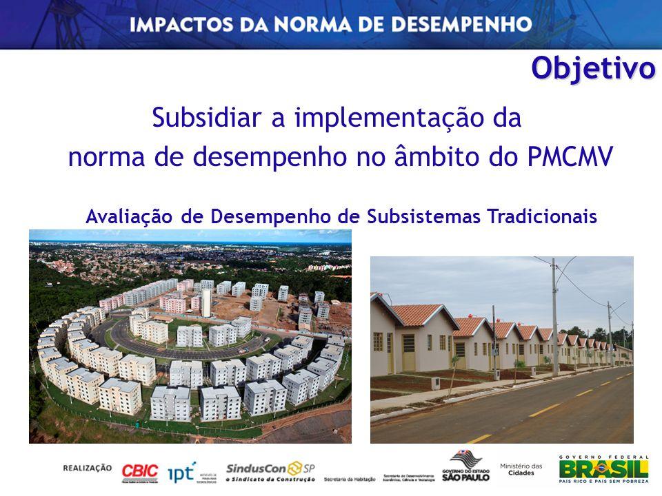 Subsidiar a implementação da norma de desempenho no âmbito do PMCMV Avaliação de Desempenho de Subsistemas Tradicionais Objetivo
