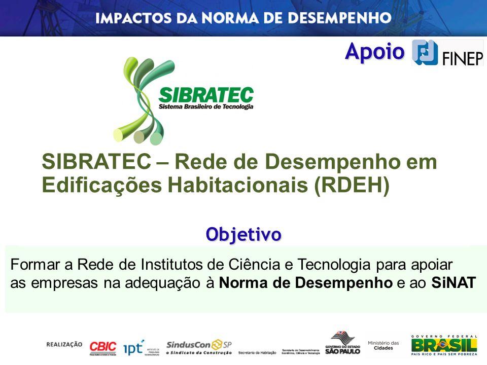Apoio SIBRATEC – Rede de Desempenho em Edificações Habitacionais (RDEH) Formar a Rede de Institutos de Ciência e Tecnologia para apoiar as empresas na
