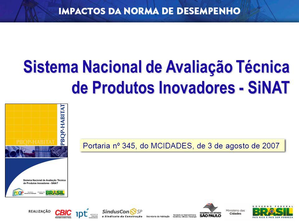 Sistema Nacional de Avaliação Técnica de Produtos Inovadores - SiNAT Portaria nº 345, do MCIDADES, de 3 de agosto de 2007