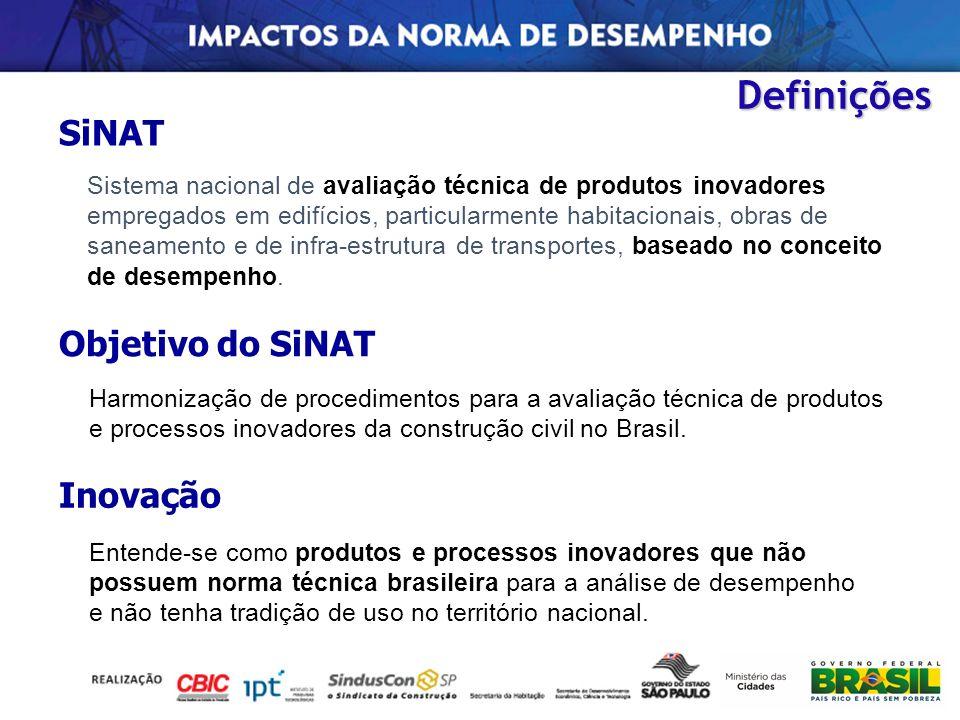 Definições SiNAT Sistema nacional de avaliação técnica de produtos inovadores empregados em edifícios, particularmente habitacionais, obras de saneame