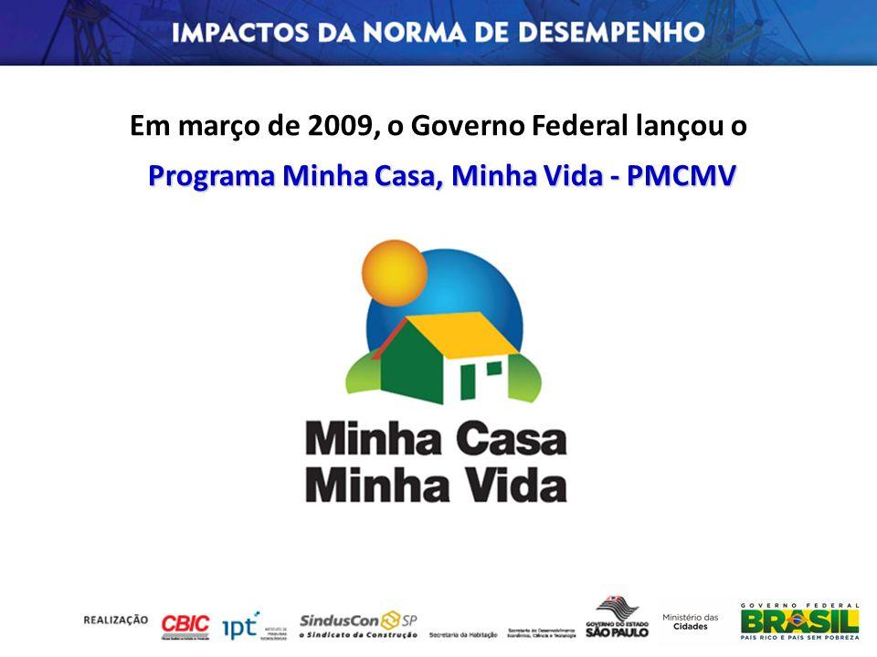Em março de 2009, o Governo Federal lançou o Programa Minha Casa, Minha Vida -PMCMV Programa Minha Casa, Minha Vida - PMCMV