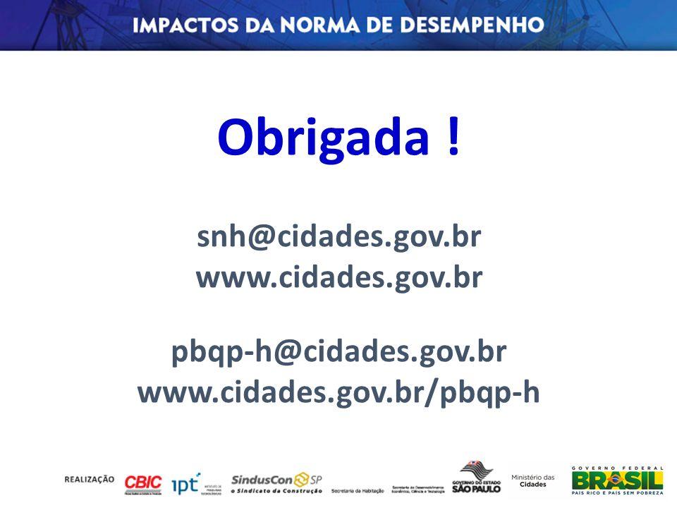 Obrigada ! snh@cidades.gov.br www.cidades.gov.br pbqp-h@cidades.gov.br www.cidades.gov.br/pbqp-h