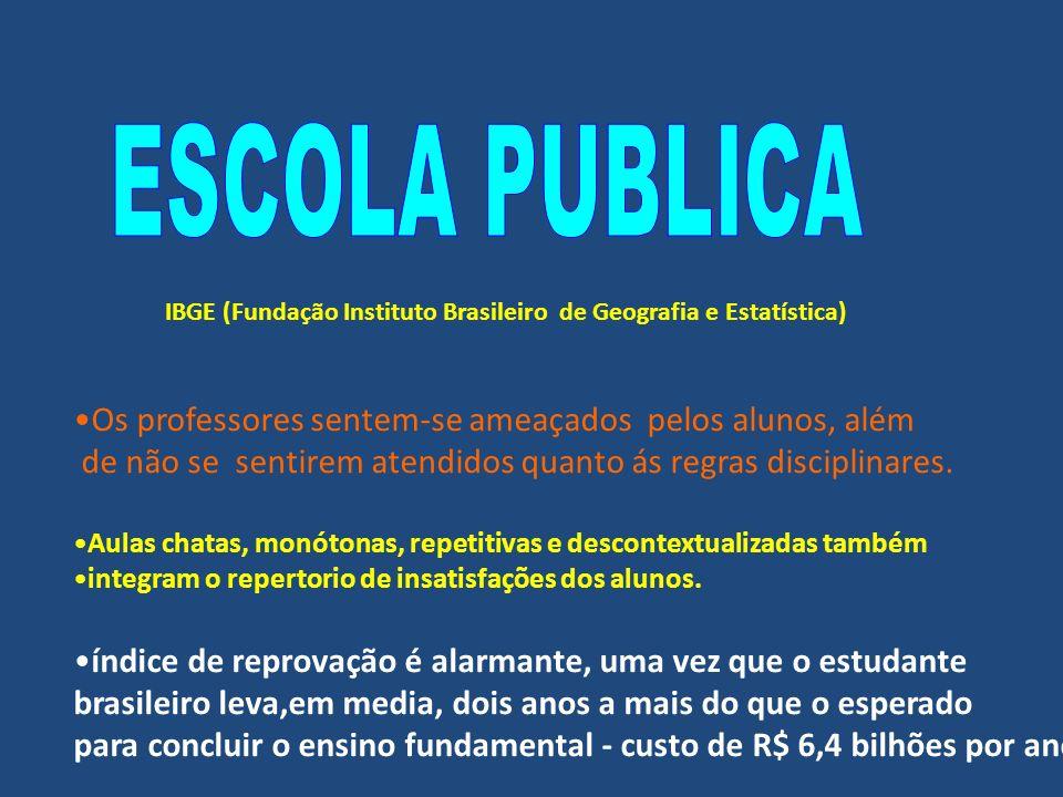 IBGE (Fundação Instituto Brasileiro de Geografia e Estatística) Os professores sentem-se ameaçados pelos alunos, além de não se sentirem atendidos quanto ás regras disciplinares.