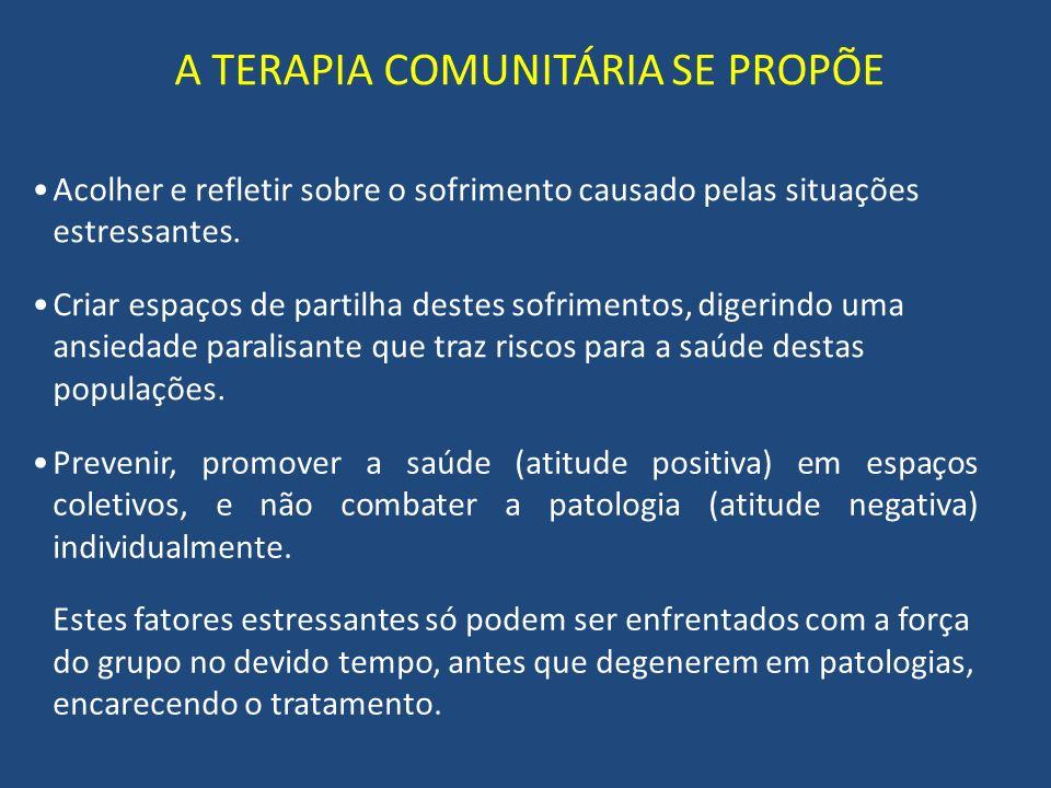 A TERAPIA COMUNITÁRIA SE PROPÕE Prevenir, promover a saúde (atitude positiva) em espaços coletivos, e não combater a patologia (atitude negativa) individualmente.