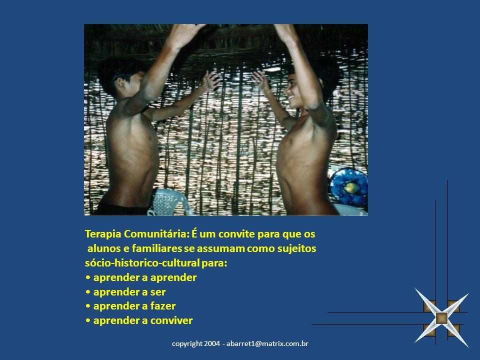 copyright 2004 - abarret1@matrix.com.br Terapia Comunitária: É um convite para que os alunos e familiares se assumam como sujeitos sócio-historico-cul