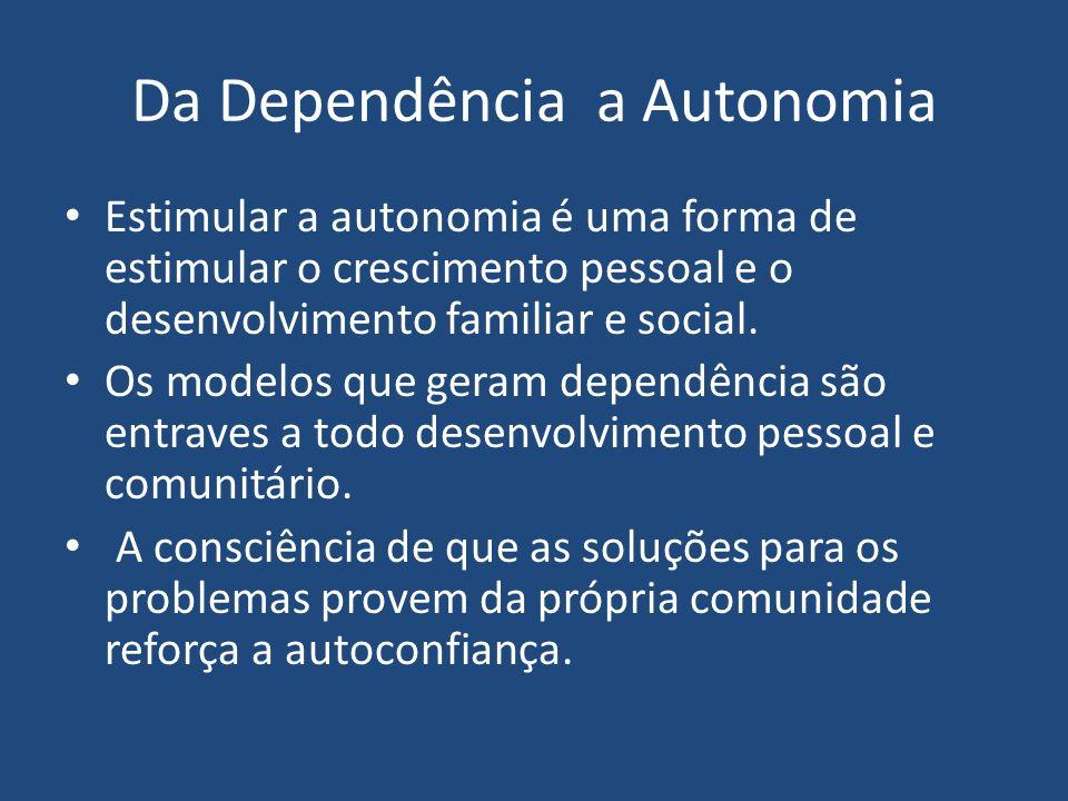 Da Dependência a Autonomia Estimular a autonomia é uma forma de estimular o crescimento pessoal e o desenvolvimento familiar e social. Os modelos que