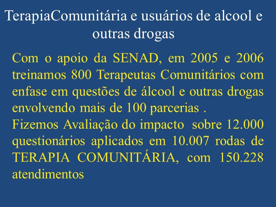 TerapiaComunitária e usuários de alcool e outras drogas Com o apoio da SENAD, em 2005 e 2006 treinamos 800 Terapeutas Comunitários com enfase em questões de álcool e outras drogas envolvendo mais de 100 parcerias.