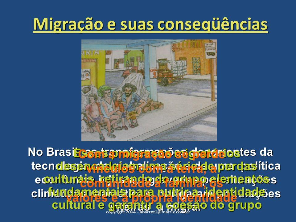 copyright 2004 - abarret1@matrix.com.br Nas periferias urbanas, essa população enfrenta problemas de desemprego, sub-emprego, desagregação familiar, baixa escolaridade, exclusão do mercado de consumo e moradias precárias.