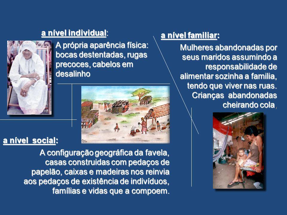 a nível social: A configuração geográfica da favela, casas construidas com pedaços de papelão, caixas e madeiras nos reinvia aos pedaços de existência de indivíduos, famílias e vidas que a compoem.