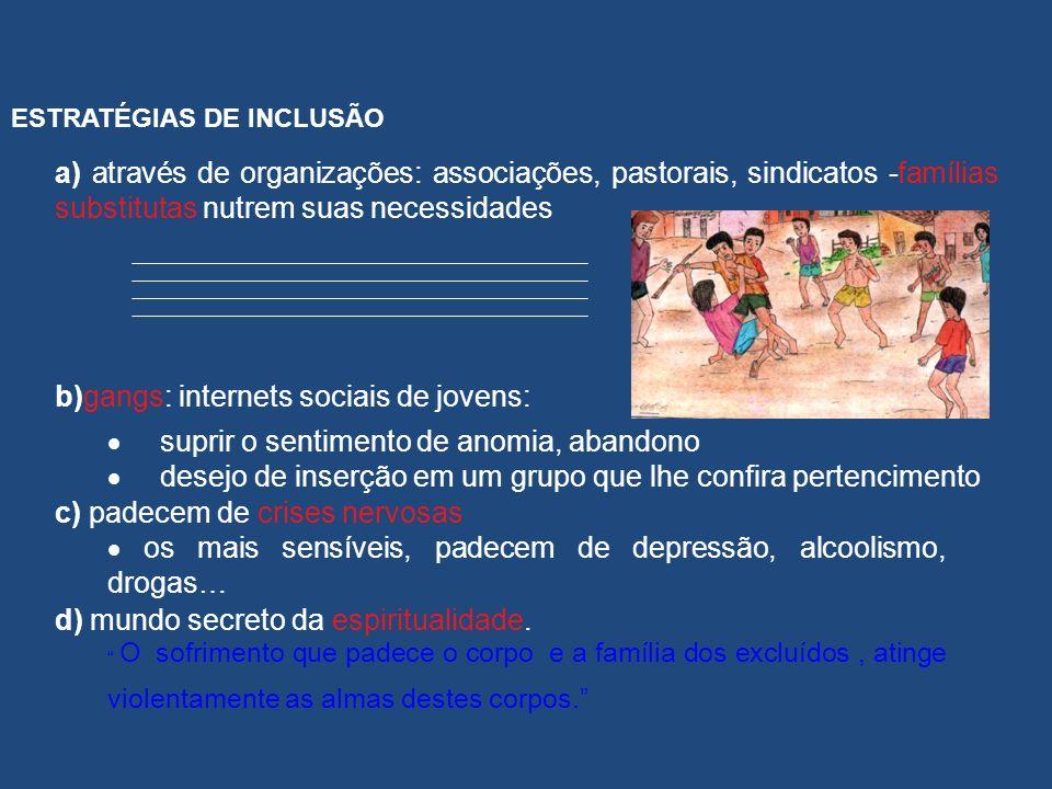 ESTRATÉGIAS DE INCLUSÃO a) através de organizações: associações, pastorais, sindicatos -famílias substitutas nutrem suas necessidades b)gangs: interne