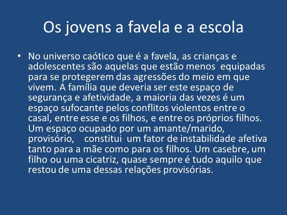Os jovens a favela e a escola No universo caótico que é a favela, as crianças e adolescentes são aquelas que estão menos equipadas para se protegerem das agressões do meio em que vivem.