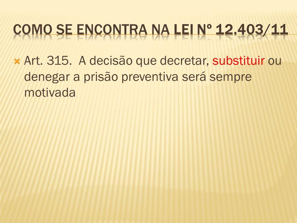 Art. 315. A decisão que decretar, substituir ou denegar a prisão preventiva será sempre motivada
