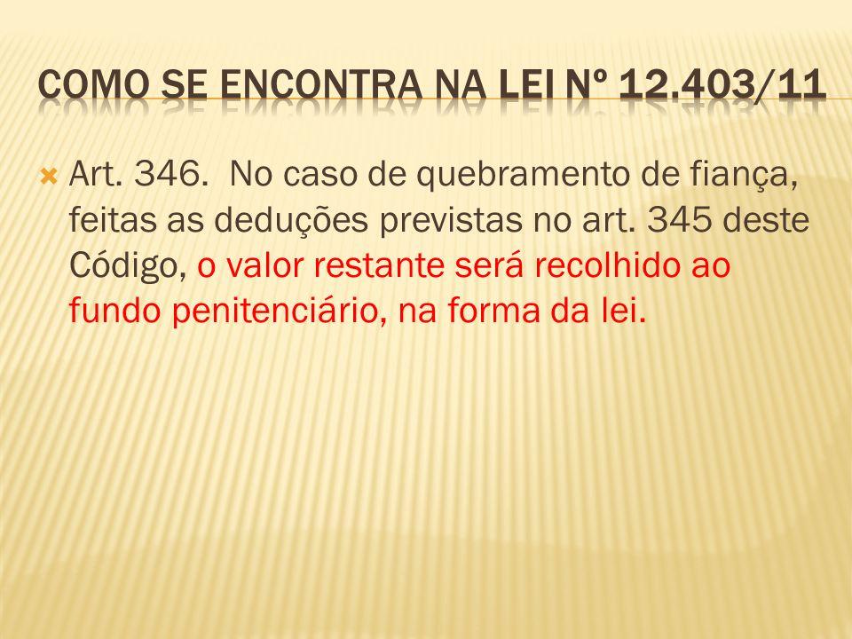 Art.346. No caso de quebramento de fiança, feitas as deduções previstas no art.