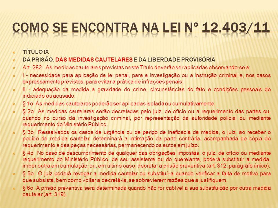 TÍTULO IX DA PRISÃO, DAS MEDIDAS CAUTELARES E DA LIBERDADE PROVISÓRIA Art.