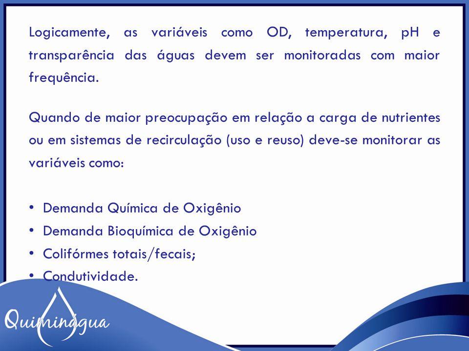 Logicamente, as variáveis como OD, temperatura, pH e transparência das águas devem ser monitoradas com maior frequência. Quando de maior preocupação e