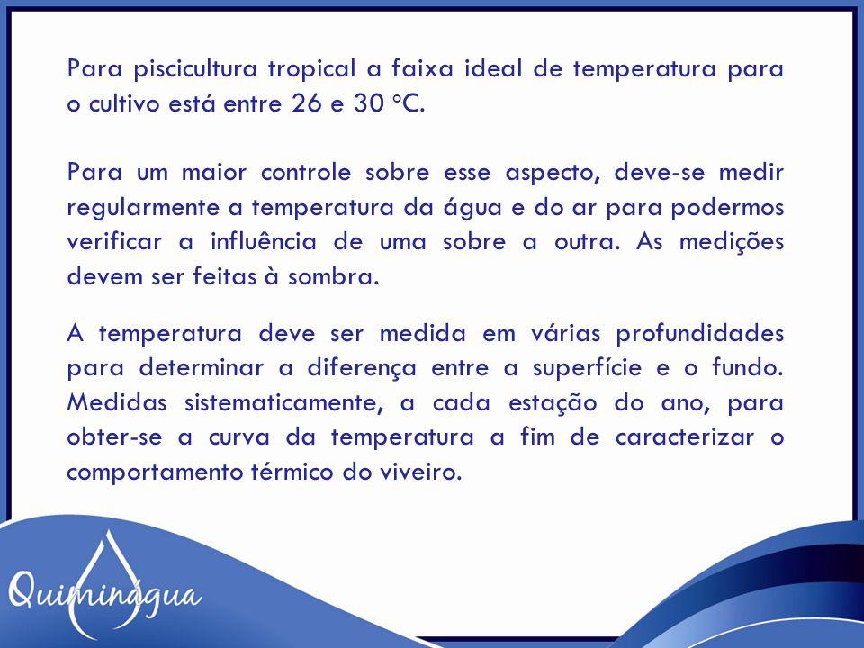 Para piscicultura tropical a faixa ideal de temperatura para o cultivo está entre 26 e 30 o C. Para um maior controle sobre esse aspecto, deve-se medi
