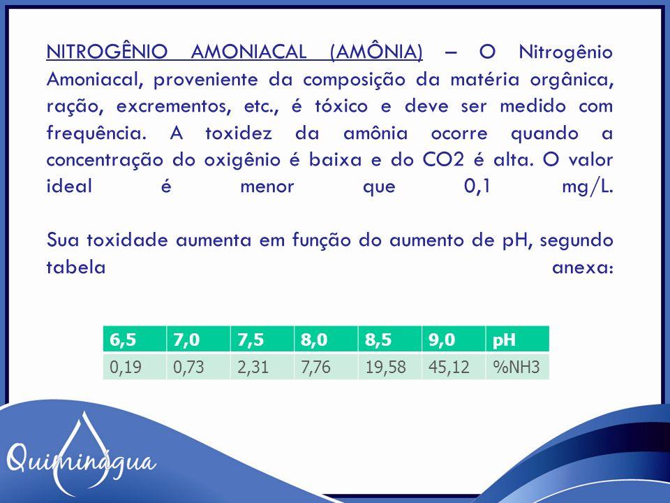 NITROGÊNIO AMONIACAL (AMÔNIA) – O Nitrogênio Amoniacal, proveniente da composição da matéria orgânica, ração, excrementos, etc., é tóxico e deve ser m