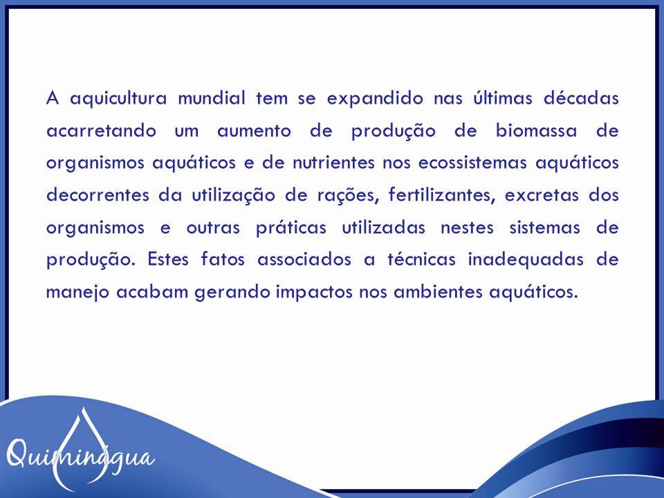 INTERVALO DE CONCENTRAÇÕES PARA MAIOR PRODUTIVIDADE PARÂMETROCONCENTRAÇÃO PARÂMETROCONCENTRAÇÃO Temperatura 26-30 o C Salinidade10 a 12 ppt Transparência 30 a 50 cm pH6,5-8,0 Alcalinidade 10-400 mg/L Clorofila a > 50 μ g/L Dureza 10-400 mg/L OD> 5,0 mg/L Nitrito < 0,1 mg/L Amônia< 0,5 mg/L Nitrato 0-5 mg/L Ferro0,3 - 1,0 mg/L Fósforo Rios - até 0,05 mg/L Lagos - até 0,025 mg/L