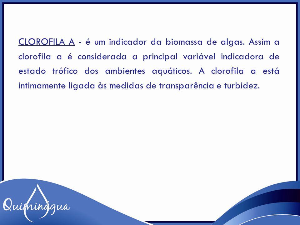 CLOROFILA A - é um indicador da biomassa de algas. Assim a clorofila a é considerada a principal variável indicadora de estado trófico dos ambientes a