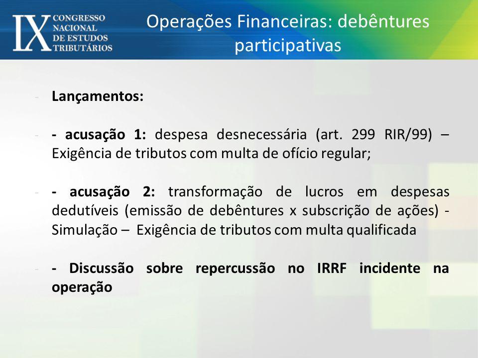 Operações Financeiras: debêntures participativas - Lançamentos: - - acusação 1: despesa desnecessária (art.