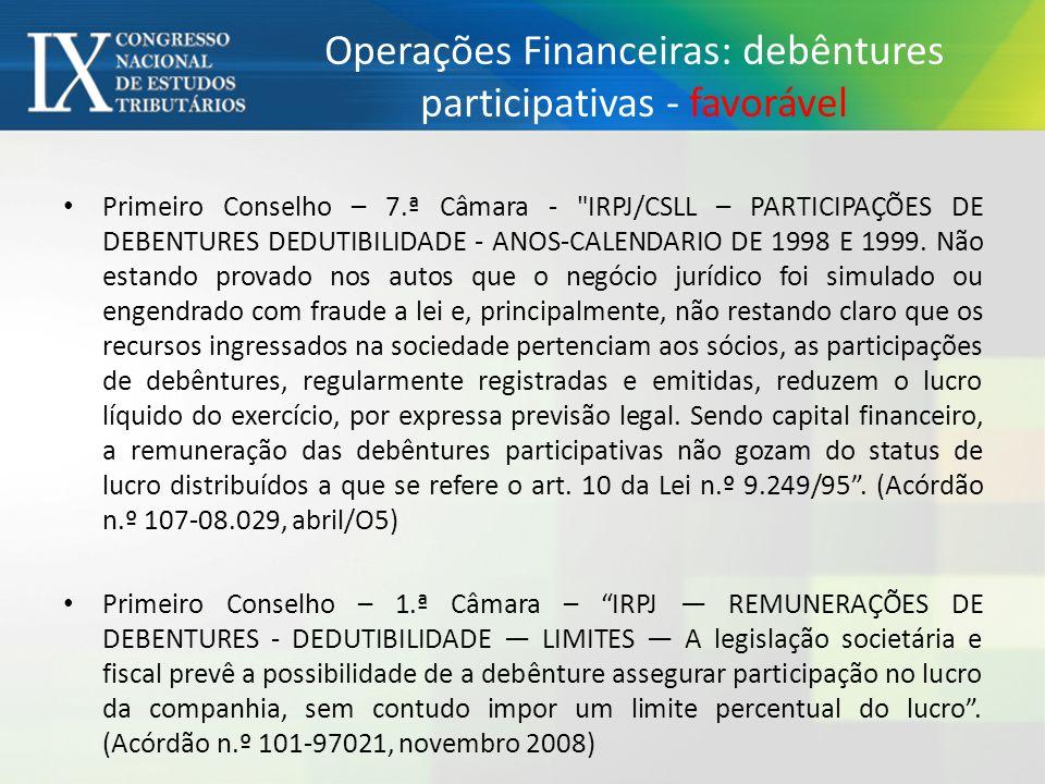 Operações Financeiras: debêntures participativas - favorável Primeiro Conselho – 7.ª Câmara - IRPJ/CSLL – PARTICIPAÇÕES DE DEBENTURES DEDUTIBILIDADE - ANOS-CALENDARIO DE 1998 E 1999.