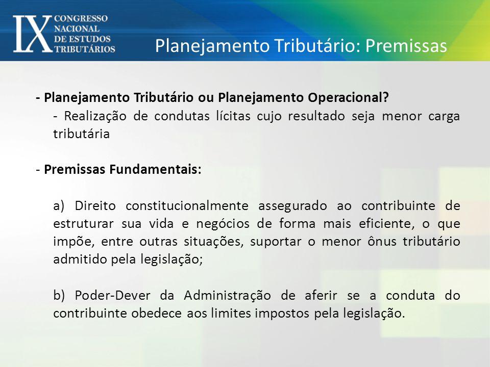 Planejamento Tributário: Premissas - Planejamento Tributário ou Planejamento Operacional.