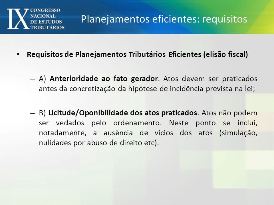 Planejamentos eficientes: requisitos Requisitos de Planejamentos Tributários Eficientes (elisão fiscal) – A) Anterioridade ao fato gerador.