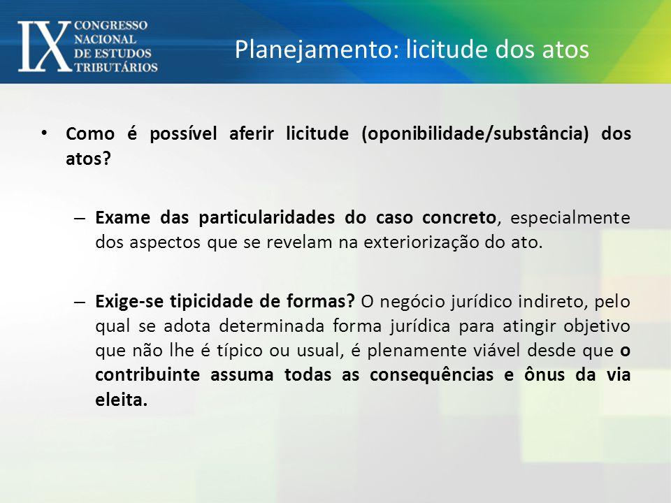 Planejamento: licitude dos atos Como é possível aferir licitude (oponibilidade/substância) dos atos.