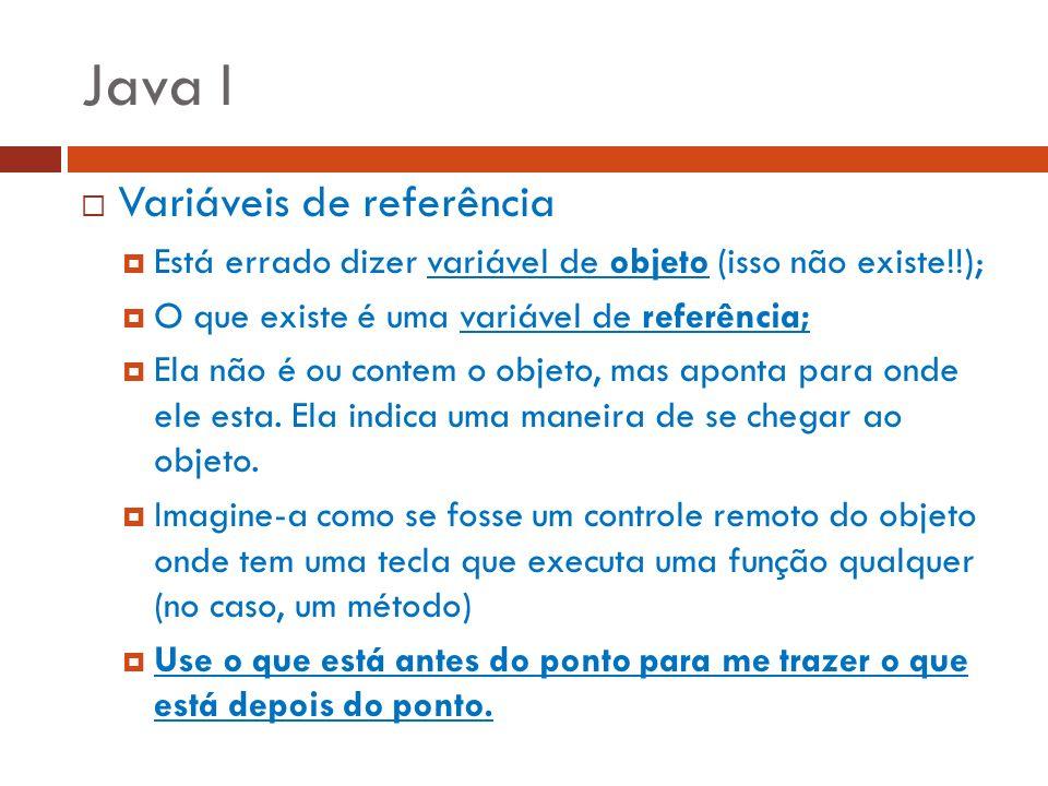 Java I Variáveis de referência Está errado dizer variável de objeto (isso não existe!!); O que existe é uma variável de referência; Ela não é ou conte
