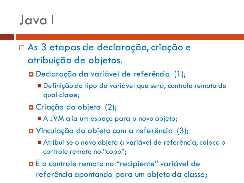 Java I As 3 etapas de declaração, criação e atribuição de objetos. Declaração da variável de referência (1); Definição do tipo de variável que será, c