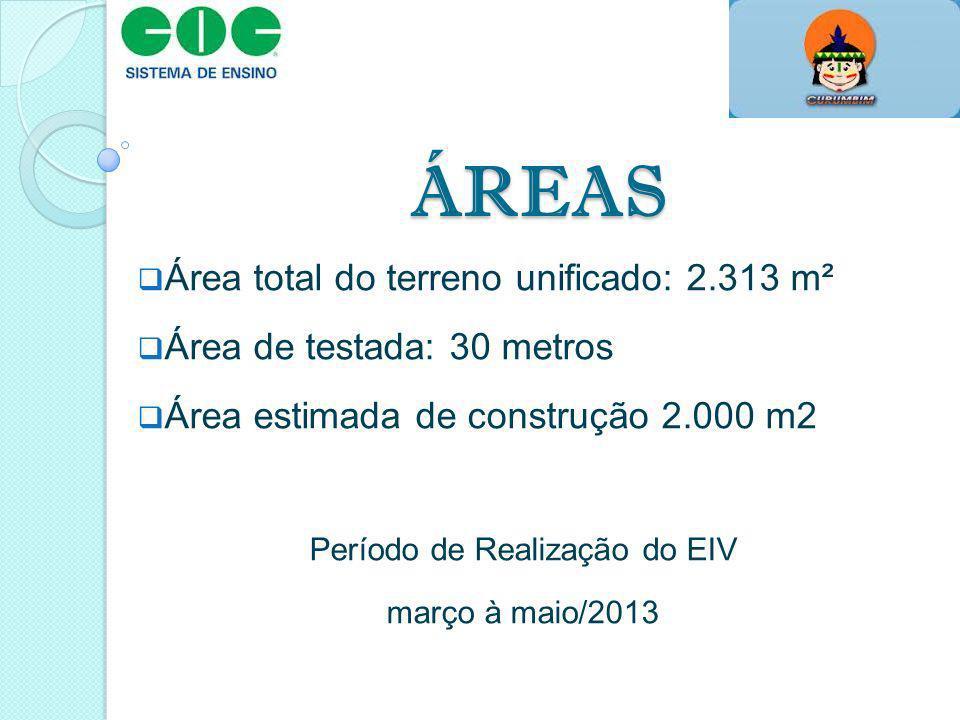 ÁREAS Área total do terreno unificado: 2.313 m² Área de testada: 30 metros Área estimada de construção 2.000 m2 Período de Realização do EIV março à m