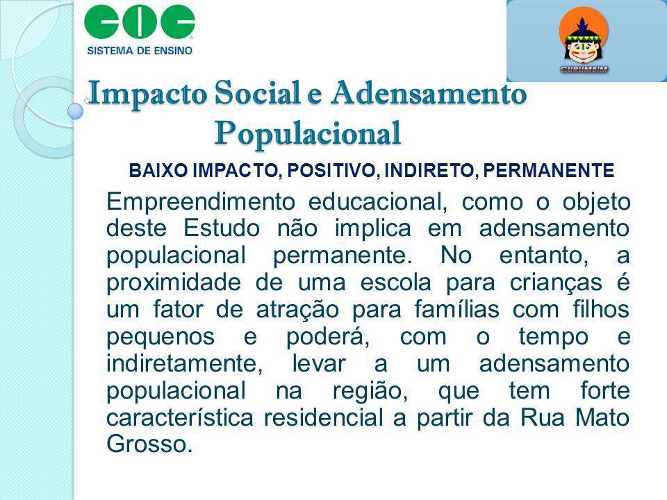 Impacto Social e Adensamento Populacional BAIXO IMPACTO, POSITIVO, INDIRETO, PERMANENTE Empreendimento educacional, como o objeto deste Estudo não imp