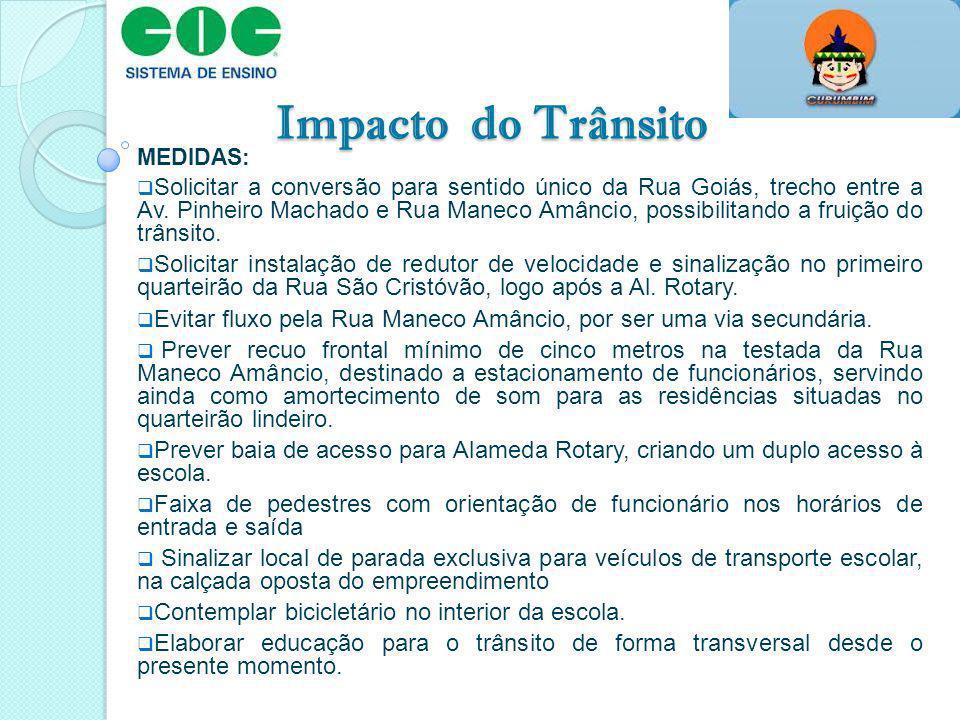 Impacto do Trânsito MEDIDAS: Solicitar a conversão para sentido único da Rua Goiás, trecho entre a Av. Pinheiro Machado e Rua Maneco Amâncio, possibil