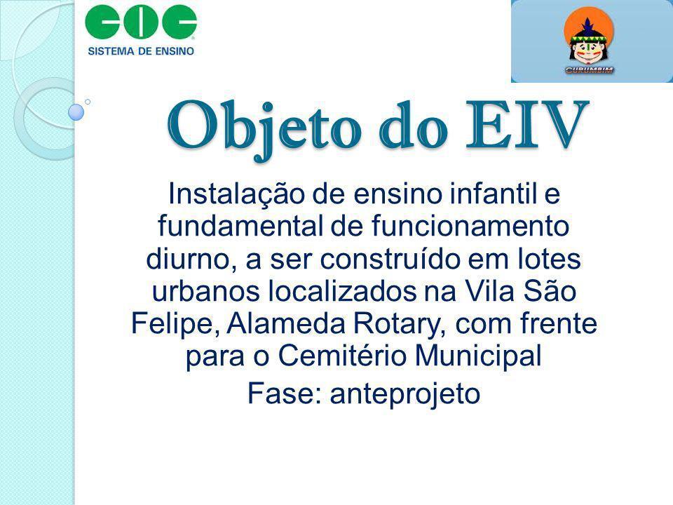 Objeto do EIV Instalação de ensino infantil e fundamental de funcionamento diurno, a ser construído em lotes urbanos localizados na Vila São Felipe, A