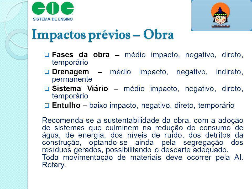 Impactos prévios – Obra Fases da obra – médio impacto, negativo, direto, temporário Drenagem – médio impacto, negativo, indireto, permanente Sistema V