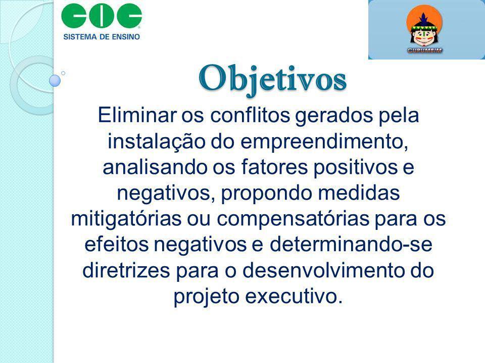 Objetivos Eliminar os conflitos gerados pela instalação do empreendimento, analisando os fatores positivos e negativos, propondo medidas mitigatórias