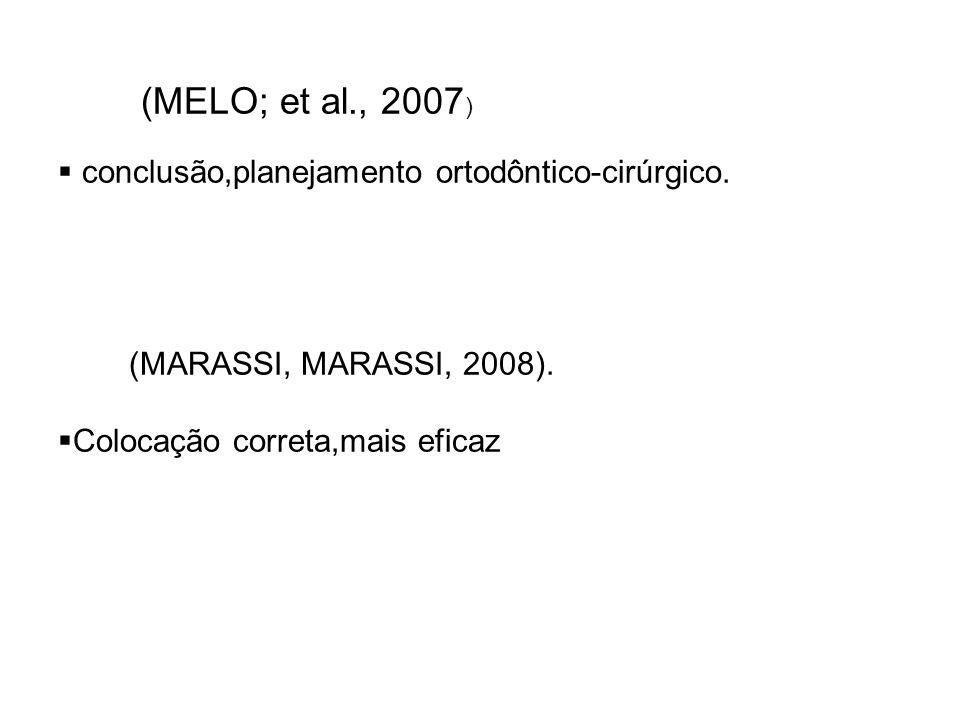 (MELO; et al., 2007 ) conclusão,planejamento ortodôntico-cirúrgico. (MARASSI, MARASSI, 2008). Colocação correta,mais eficaz
