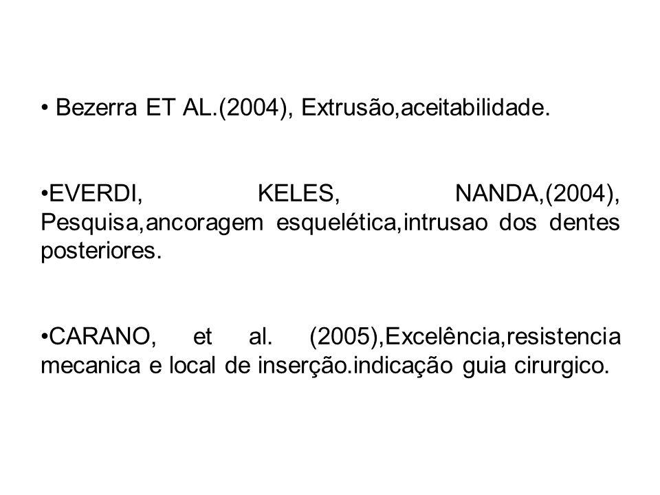 Bezerra ET AL.(2004), Extrusão,aceitabilidade. EVERDI, KELES, NANDA,(2004), Pesquisa,ancoragem esquelética,intrusao dos dentes posteriores. CARANO, et