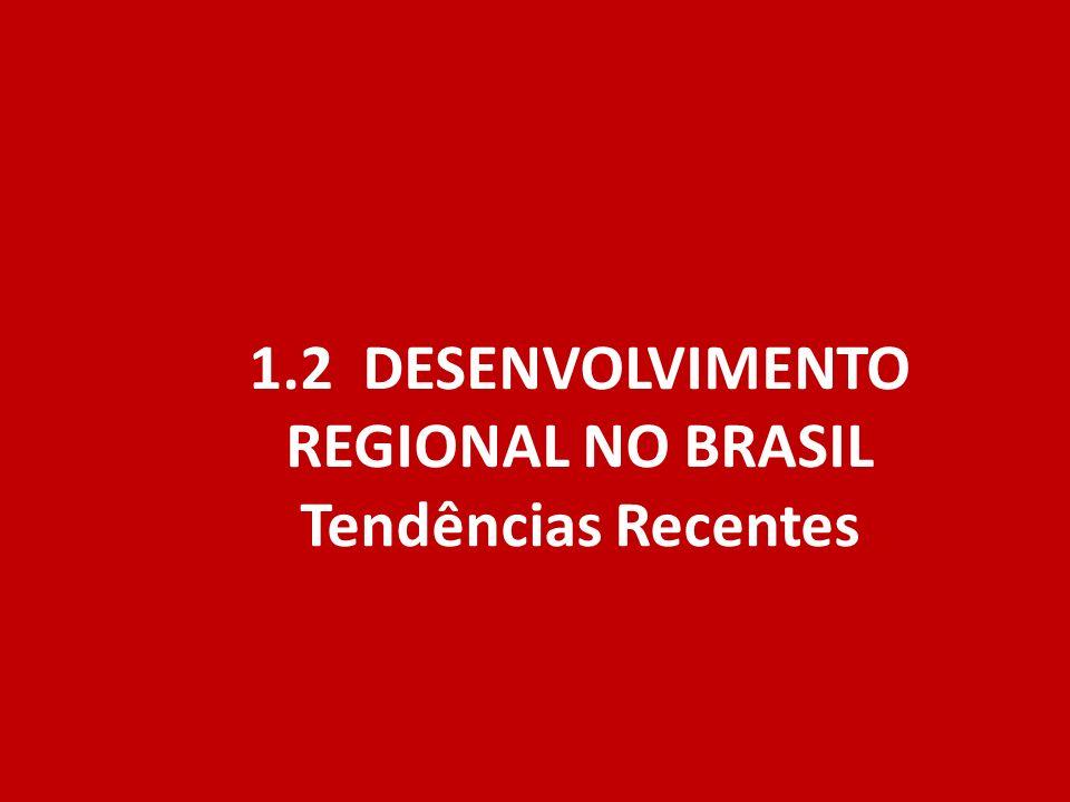 1.2 DESENVOLVIMENTO REGIONAL NO BRASIL Tendências Recentes