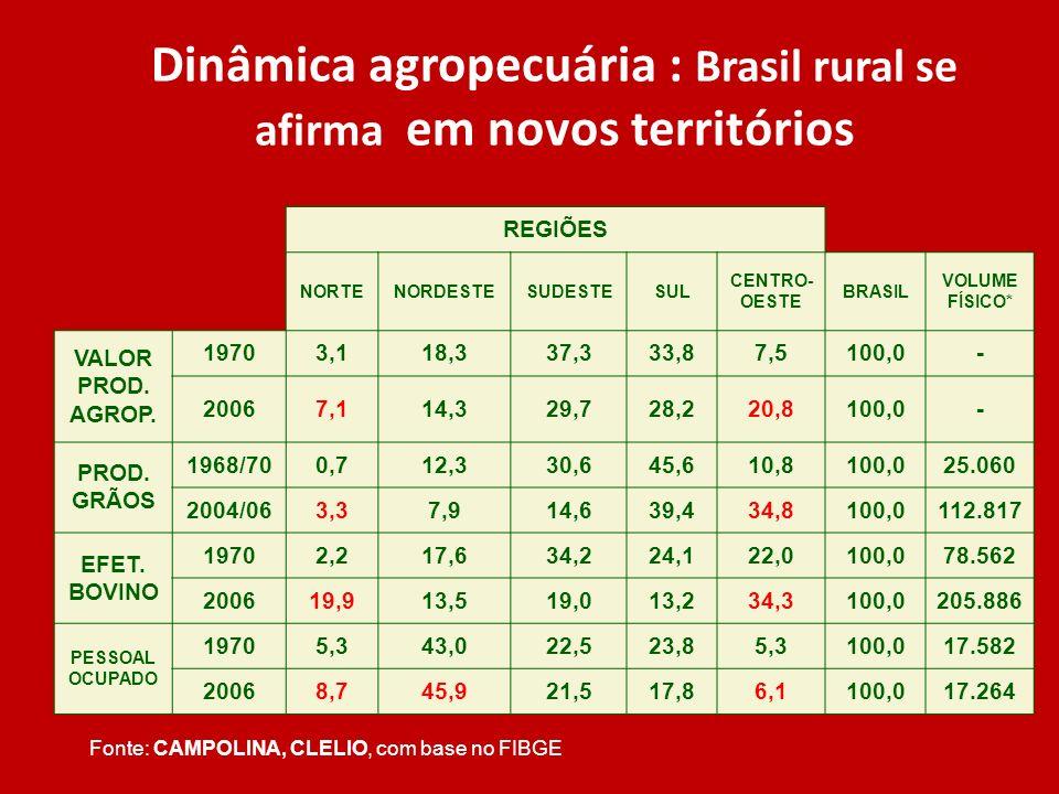 Dinâmica agropecuária : Brasil rural se afirma em novos territórios REGIÕES NORTENORDESTESUDESTESUL CENTRO- OESTE BRASIL VOLUME FÍSICO* VALOR PROD. AG