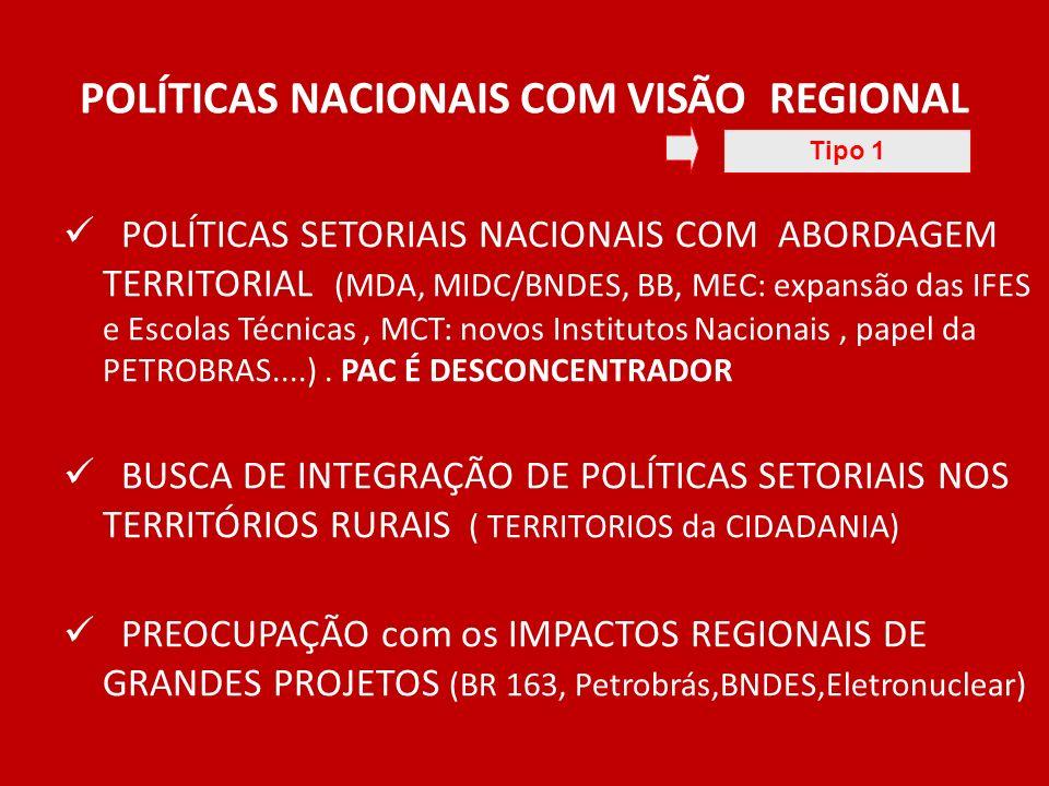 POLÍTICAS NACIONAIS COM VISÃO REGIONAL POLÍTICAS SETORIAIS NACIONAIS COM ABORDAGEM TERRITORIAL (MDA, MIDC/BNDES, BB, MEC: expansão das IFES e Escolas