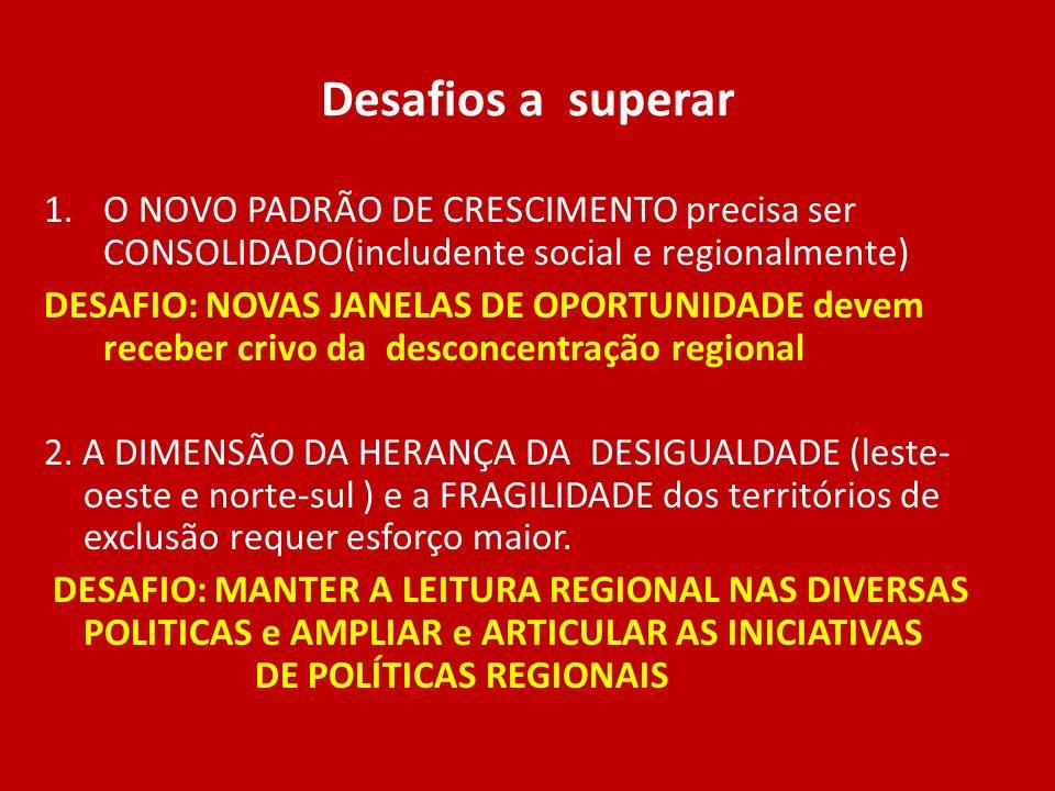 Desafios a superar 1.O NOVO PADRÃO DE CRESCIMENTO precisa ser CONSOLIDADO(includente social e regionalmente) DESAFIO: NOVAS JANELAS DE OPORTUNIDADE de
