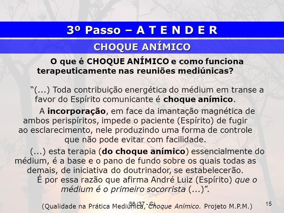 36 (37 - C)15 O que é CHOQUE ANÍMICO e como funciona terapeuticamente nas reuniões mediúnicas? (...) Toda contribuição energética do médium em transe