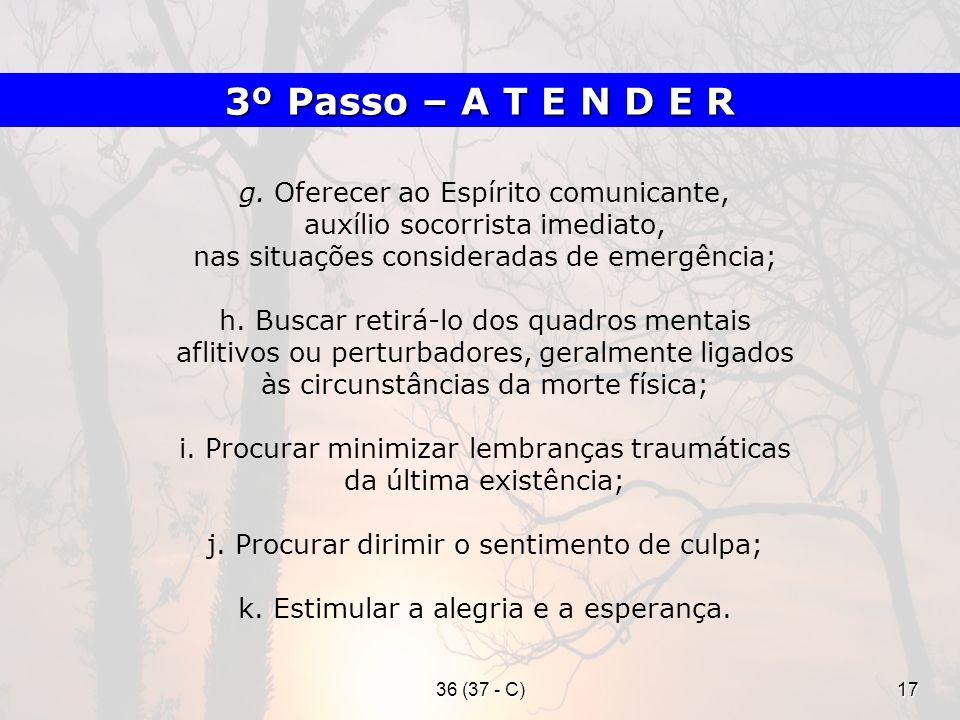 36 (37 - C)17 g. Oferecer ao Espírito comunicante, auxílio socorrista imediato, nas situações consideradas de emergência; h. Buscar retirá-lo dos quad