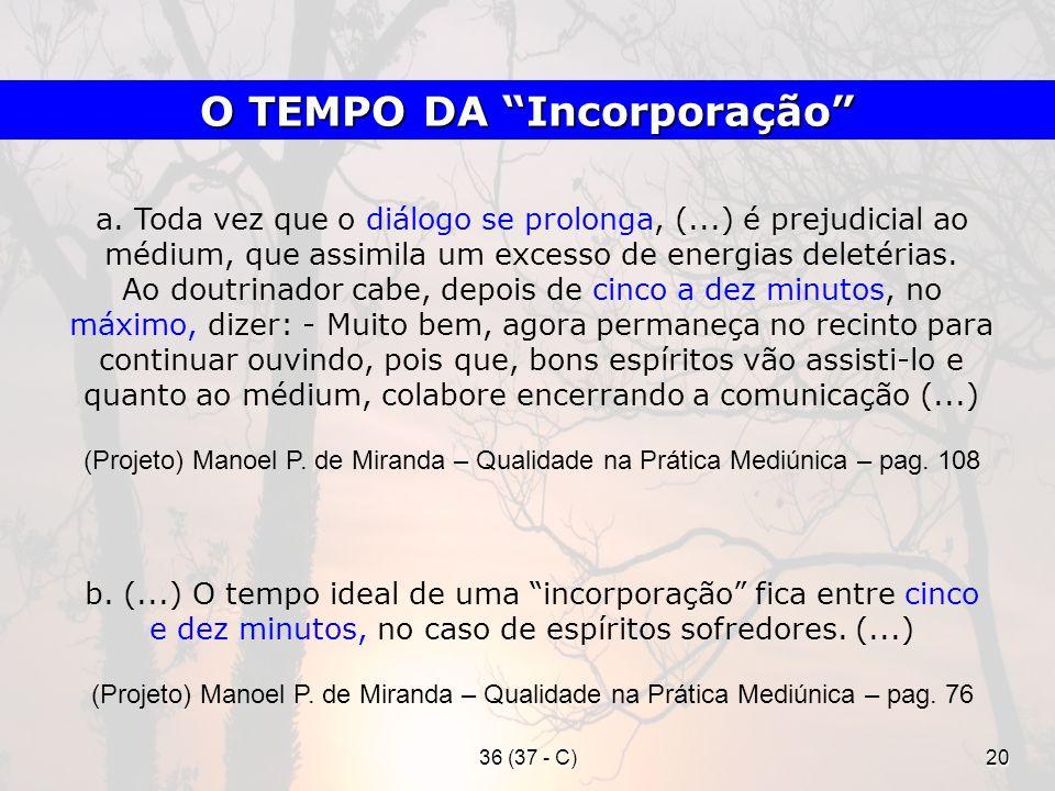 36 (37 - C)20 a. Toda vez que o diálogo se prolonga, (...) é prejudicial ao médium, que assimila um excesso de energias deletérias. Ao doutrinador cab