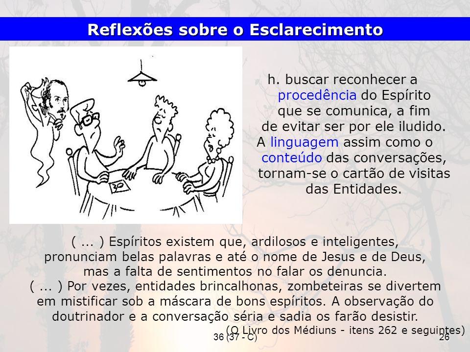 36 (37 - C)26 h. buscar reconhecer a procedência do Espírito que se comunica, a fim de evitar ser por ele iludido. A linguagem assim como o conteúdo d