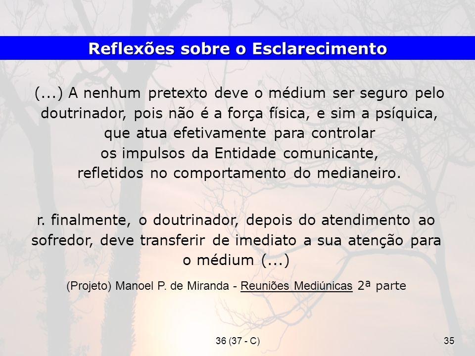 36 (37 - C)35 (...) A nenhum pretexto deve o médium ser seguro pelo doutrinador, pois não é a força física, e sim a psíquica, que atua efetivamente pa